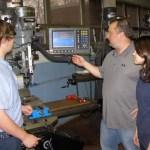 Platt Tech teacher Steve Orloski, center, in his shop with students Joe Duhaime and Vanessa Bogus. Orloski, a Beacon Falls resident, was recently named Teacher of the Year at Platt Technical High School in Milford. CONTRIBUTED