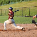 Zach Dreher belts a bases loaded two-out, two-run single that scored the eventual winning runs for the Naugatuck American Legion's 7-5 win over Prospect-Beacon Falls on Tuesday. KEN MORSE