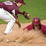 Anthony McKernan of Naugatuck, seen here playing first base for the Greyhounds during the 2010 NVL season opener against Torrington, will follow in his grandfathers' footsteps by joining the U. S. Army.  CONTRIBUTED