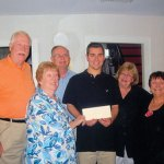 The Prospect Historical Society Scholarship Committee awards Matthew Costa with the Nellie and Ruth Cowdell Scholarship. From left, Tom Jokubaitis, committee Chair Beth Whelan, John Guevin, Matthew Costa, Historical Society President Nancy Via, and Linda Weingart. CONTRIBUTED