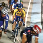 Rick Beasley of Naugatuck, in the yellow, pedals his way to a pair of silver medals at the Masters Track Nationals in Trexlertown, Pa. on July 30. CONTRIBUTED