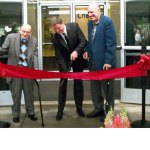 Chemtura dedicated its new technology center to Dr. Walter Nudenberg and Dr. Ed Wheeler. Sept. 8. From left, Nudenberg, Chemtura CEO Craig Rogerion, and Wheeler cut the ribbon on the new center.  CONTRIBUTED
