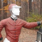 Beacon Falls First Selectman Susan Cable's lawn statue was spray-painted white last night in an act of vandalism. CONTRIBUTED