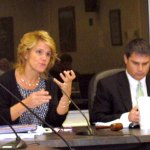Deputy Mayor Tamath Rossi, left, speaks during a special Board of Mayor and Burgesses Nov. 3 on the proposed Charter revisions as Mayor Robert Mezzo listens. ELIO GUGLIOTTI