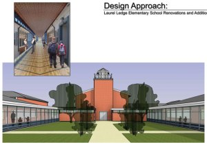 This drawing by Fletcher Thompson Architects of Shelton shows how the courtyard and new corridors could look at Laurel Ledge School following the planned renovations. -CONTRIBUTED