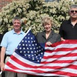 Republican U.S. Senate candidate nominee Linda McMahon, third from the left, donates a flag to the Prospect Flag Fund April 27 outside of Prospect Town Hall. McMahon was greeted by, from left, Mayor Robert Chatfield, Robert Hiscox, and U.S. Army veteran Bob Moraniec. –ELIO GUGLIOTTI