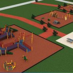 An artistic rendition, created by playground equipment manufacturer Game Time, of the handicap-accessible playground planned for Legion Field. Members from Naugatuck's Shepherd-Salem Lodge No. 78 are currently raising funds to build the playground. –CONTRIBUTED