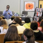 Sudan refugee El-Fadel Arbab talks to Woodland Regional High School students April 24 about escaping genocide in Darfur and becoming global citizens. –LUKE MARSHALL