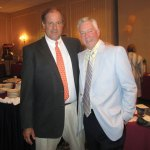 After being forced to retire from broadcasting due to a brain tumor, Naugatuck's Bob Sagendorf, seen above at right with his longtime friend Chris Berman of ESPN at a fundraiser last year, has found a new calling at the Country Club of Waterbury. –RA ARCHIVE