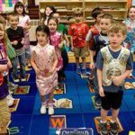 Kindergartners from Salem School in Naugatuck perform a poem in Chinese last week. –RA ARCHIVE