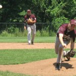 Naugatuck Post 17's Mike Burns throws a pitch during the Post's lone win this season June 17. The Post forfeited two games recently due to a lack of players. –FILE PHOTO