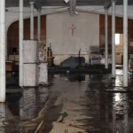 Over 5 feet of water flooded the basement of St. Francis of Assisi Church in Naugatuck, leaving the basement muddy and destroyed. –LUKE MARSHALL