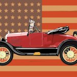 This illustration of a 1927 Model T Ford is one of five pieces that Beacon Falls resident Joseph Pepitone will display and auction at the Antique Automobile Club of America Museum in Hershey, Penn. from Monday through Wednesday. -JOSEPH PEPITONE