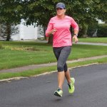 Deputy Mayor Tamath Rossi finishes up a 13-mile run in Naugatuck last week. Rossi is running the Hartford ING marathon to raise money for the Naugatuck Ecumenical Food Bank. Her running addiction began with the Bob Veillette 5K years ago. –RA ARCHIVE