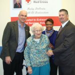 Ruby De Costa, 97, of Prospect was honored by the American Red Cross and Fenwal Inc. Nov. 6 in Farmington for her years of volunteering at blood drives in Prospect. From left, American Red Cross Connecticut Blood Services Region Chief Executive Officer Paul Sullivan, De Costa, American Red Cross Donor Recruitment Manager Joyce Ramsey, and Fenwal Inc. Account Executive Shaun Debold. –CONTRIBUTED