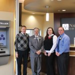 Naugatuck Savings Bank held the grand opening for its Wallingford branch Monday. Pictured, from left, President of Naugatuck Savings Bank Charles Boulier III, Branch Manager Tony Scafariello, and personal bankers Shawna Jakiela and Sean Fogarty. –CONTRIBUTED