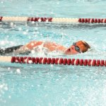 Naugatuck High School's Lucas Pimentel competes in the 200 yard free against Pomperaug High School and Conard High School Jan. 18 in Naugatuck. The Greyhounds swam to 59 best times during the meet. –LUKE MARSHALL