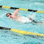 Woodland's Aidan Music does the freestyle during the 200 individual medley Jan. 18 versus Lyman Hall in Beacon Falls. Music won the race with a time of 2:18.62. Lyman Hall won the meet, 83-65. –ELIO GUGLIOTTI