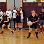 Members of Team in Yo Face, which was comprised of players from the Naugatuck High School girls basketball team, compete in Naugatuck Fire Department Union 1219's third annual charity dodgeball tournament Saturday at Naugatuck High. –KEN MORSE