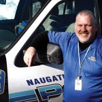 Former Naugatuck police officer Tom Conway, photographed outside the Naugatuck Police Station, a department he served 26 years with, is now the school resource officer at Newtown High School. –RA ARCHIVE