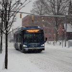 A CTTransit bus drives down a snowy Church Street in Naugatuck Friday afternoon. –ELIO GUGLIOTTI