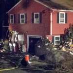 Firefighters respond to a fire on the back deck of the home at 765 Maple Hill Road in Naugatuck Saturday evening. –RA ARCHIVE