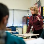 Naugatuck High School Principal Jan Saam teaches an ethics class at the school March 15. She teaches the elective class with English teacher Jill Walsh. –RA ARCHIVE