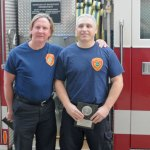 Naugatuck firefighters Tim Andrew, left, and Tommy Moore were honored March 21 with Liberty Mutual's Community Service Firemark Award. –LUKE MARSHALL