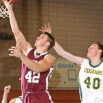 Naugatuck's Brandon Kuczenski (42) along with fellow seniors Matthew Bradley, Husani Foote, Jerome Love and Mick Pernell helped to turn around the boys basketball program during their time on the court. –RA ARCHIVE