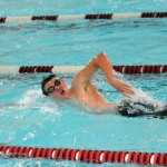 Naugatuck High seniors Matt Hall, Mikhail Burdoev, Scott Sill (pictured) and Eric Hanley earned a ninth-place finish in the 200 free relay in 1 minute, 34.16 seconds to earn the Greyhounds' best performance at the Class L state championship meet Tuesday. –FILE PHOTO