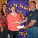 Prospect resident Alicia Brown, center, receives the 12th annual Prospect Lions club scholarship from Lions Club President Rick Brown as Lions Club board member Mary Stocking looks on. Brown, a graduate of Woodland Regional High School, will attend Naugatuck Valley Community College to pursue a degree in nursing. –CONTRIBUTED