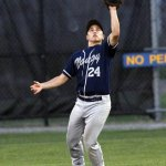 Naugy Dogs center fielder, Ryan Russell makes the catch against the Tri-Town Trojans during the Tri-State League World Series at Fuessnich Park in Torrington Wednesday night. –RA ARCHIVE