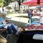 Sandy Lyons of Naugatuck crochets a scarf at her booth during the Harvest Moon Festival last year on the Naugatuck Town Green. –RA ARCHIVE
