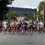 Runners take off at the start of the annual Bob Veillette 5K Road Race and Walk in Waterbury Sunday afternoon. –RA ARCHIVE