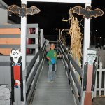 Tyler Galarza, of Naugatuck, gets ready to enter the haunted house at the Naugatuck Parks and Recreation Department's Halloween Village last year. This year's village opens Friday at the department, 258 Rubber Ave. –FILE PHOTO