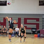 Twin sisters Kait (24) and Stefani (34) Barry have teamed up the last four years on the court and field for Naugatuck High School. –FILE PHOTO