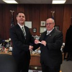 Naugatuck Mayor Robert Mezzo, left, receives tickets to the Battle of the Sauces from Naugatuck Elk Jim Desmarais Jan. 16 in the mayor's office. The Naugatuck Elk Lodge is hosting the Battle of the Sauces Jan. 25 at the lodge, 58 Rubber Ave., from 5 to 8 p.m. The event will feature 12 amateur chefs making different types of sauces. Tickets are $10 and it costs $1 per vote for a sauce. The proceeds from the event will benefit The Sandy Ground: Where Angels Play. The program is building 26 playgrounds across the state both in memory of the children who died at Sandy Hook Elementary School in the December 2012 shooting and working to beautify areas that were impacted by Superstorm Sandy. –CONTRIBUTED