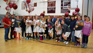 The Naugatuck girls basketball team celebrated senior night Feb. 20. –KEN MORSE
