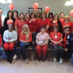 The staff of Beacon Brook Health Center in Naugatuck supported 'Wear Red Day' on Feb. 7 in acknowledgement of Heart Health Awareness Month. Beacon Brook offered Red Dress pins throughout the month of February to anyone who donated to the American Heart Association. –CONTRIBUTED
