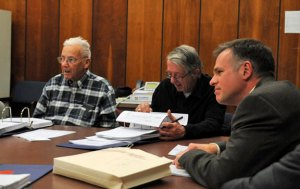 Naugatuck Public Works Director James Stewart, right, presents the department's 2014-15 budget request Tuesday night to the Board of Finance as burgesses, from left, Bob Burns and Pat Scully look over the numbers. –LUKE MARSHALL