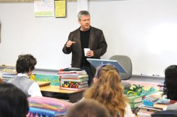 Author L. Todd Wood speaks to sixth-grade students at St. Francis-St. Hedwig School in Naugatuck April 8. Wood and author Daniel Donaghy came to the school to speak with students about what it is like being an author, how to write well and why they should write. Wood advised students to travel every chance they are able and to always write what they know about. –LUKE MARSHALL