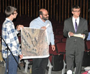 Naugatuck Burgess Alex Olbrys, right, explains his plan to create a community garden behind Cross Street Intermediate School in Naugatuck to the Board of Education April 10. Olbrys was assisted in his presentation by Town Planner Keith Rosenfeld, center, and Edward Betkoski. –LUKE MARSHALL