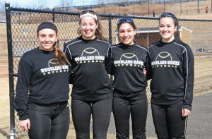 The Woodland softball team will be lead by senior co-captains, from left, Rachel Sterky, Brianna Pacileo, Natalie Veneri and Samantha Lee. –LUKE MARSHALL
