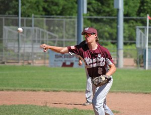 Post 17's Scott Sill throws to first base for an out Sunday afternoon at Rotary Field in Naugatuck versus Oakville. Post 17 lost the game, 10-0, but started the season 2-1 and is looking to challenge for its first Zone 5 title since 2007. –ELIO GUGLIOTTI