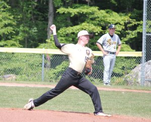 Posts 194-25's Nathan Clarke pitches June 29 in the first game of a doubleheader versus New Milford at Hotchkiss Park in Prospect. Prospect-Beacon Falls lost the game 7-5, but bounced back to win the second game. –ELIO GUGLIOTTI