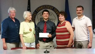 The Prospect Democratic Town Committee awarded the George A. Sabo Memorial Scholarship to Daniel Conti July 7. Conti, a recent graduate of Woodland Regional High School, will attend the University of Connecticut. Conti is the second recipient of the annual award. The scholarship was established in honor of former Democratic Prospect Mayor George A. Sabo Jr. Pictured, from left, Chair of the Prospect Democratic Town Committee Eileen Cranney, Sabo's wife Shirley Sabo, Conti, Katherine Sabo Blinstrubas and Sam Blinstrubas, Sabo's daughter and grandson and members of the committee. –CONTRIBUTED