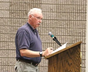 Naugatuck resident David O'Connor speaks on the proposed $113.8 million 2014-15 budget during a public hearing Monday. –LUKE MARSHALL