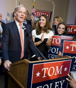 Republican Thomas Foley speaks after defeating state Sen. John McKinney in the GOP primary Aug. 12 to run for governor. He gained local support as the majority of Republicans in Beacon Falls, Prospect and Naugatuck voted for him. –RA ARCHIVE