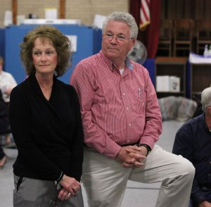 Republican Mayor Robert Chatfield, right, and his wife Ginny listen as election results are announced Tuesday at Community School in Prospect. Chatfield was re-elected to his 20th straight term in office. –ELIO GUGLIOTTI