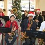 Members of the Naugatuck High School jazz band played holiday music for residents of Glendale Center in Naugatuck Dec. 11. –LUKE MARSHALL